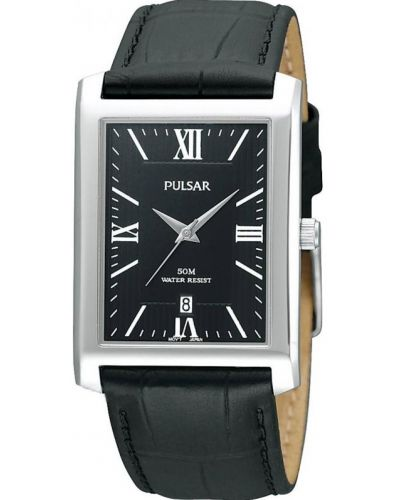 Mens Pulsar  Classic rectangular black leather strap PXDB71X1 Watch