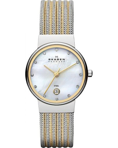 Womens Skagen Ancher stainless steel gold highlighted 355SSGS Watch