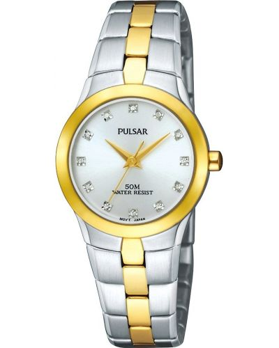 Womens Pulsar  Dress Wear crystal set stainless steel gold highlighted PTC512X1 Watch