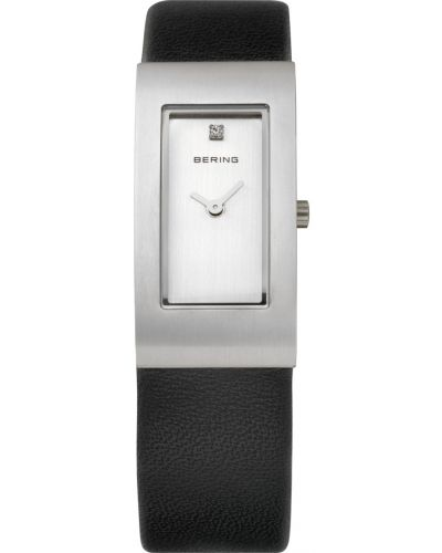 Womens Bering Classic crystal set black leather strap 10817-400 Watch
