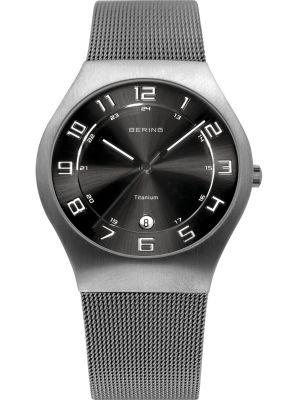 Mens Bering Titanium Grey and Black milanese strap 11937-077 Watch