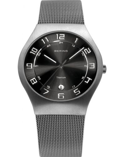 Mens Bering Titanium Grey and Black milanese strap 11937-077 Watch