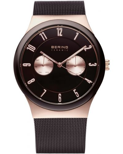 Mens Bering Ceramic rose gold brown milanese strap 32139-265 Watch