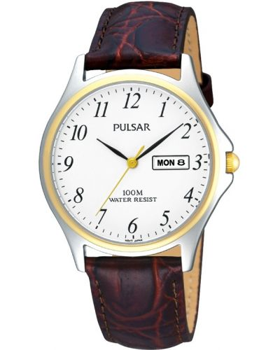 Mens Pulsar  Classic stainless steel gold highlighted PXF294X1 Watch