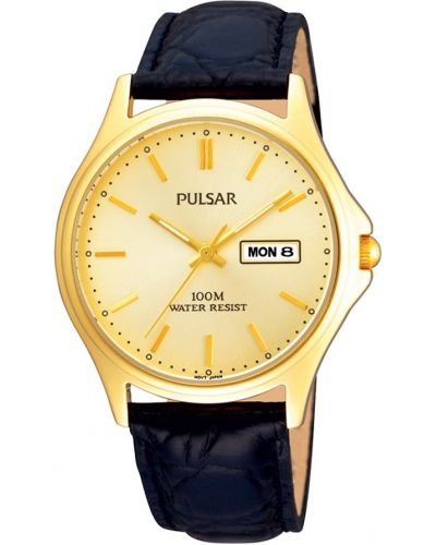 Mens Pulsar  Classic gold black leather strap PXF296X1 Watch