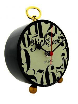 Funky Numbers Black Retro Tick Tock Clock | 24212