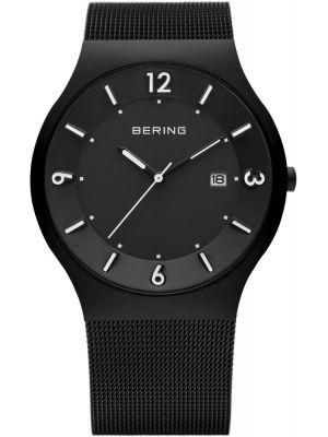 Mens Bering Solar Black stainless steel milanese strap 14440-222 Watch