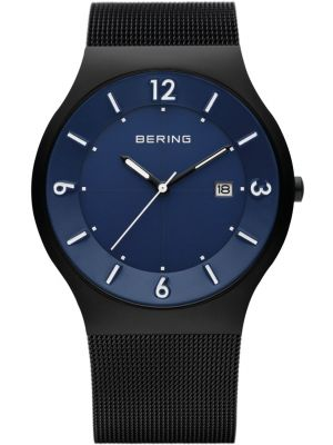 Mens Bering Solar blue and black stainless steel milanese strap 14440-227 Watch