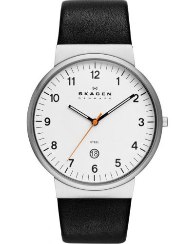 Mens Skagen Ancher stainless steel black leather strap SKW6024 Watch