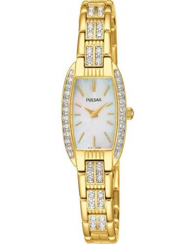 Womens Pulsar  Dress Wear crystal set gold plated PEG988X1 Watch