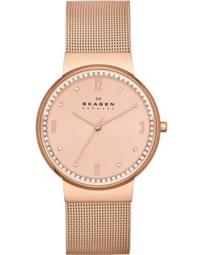 Womens Skagen Ancher Rose gold crystal set milanese strap SKW2130 Watch