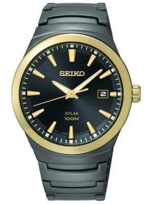 Mens Seiko Solar black ion plated SNE252P1 Watch