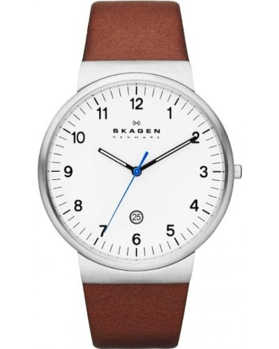Mens Skagen Ancher stainless steel brown leather strap SKW6082 Watch