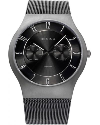 Mens Bering Titanium Grey and black milanese strap 11939-077 Watch