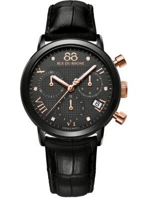 Womens 88 Rue Du Rhone 35mm Quartz Chronograph Diamond set black leather strap 87WA130005 Watch