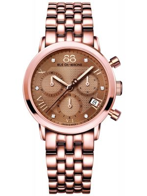 Womens 88 Rue Du Rhone 35mm Quartz Chronograph Rose gold diamond set 87WA130033 Watch