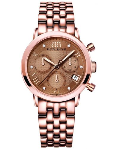 Womens 88 Rue Du Rhone 35mm Quartz Chronograph Rose gold diamond set 87WA130033 Watch