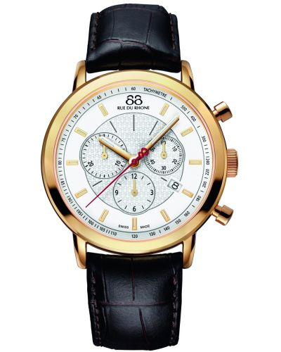 Mens 88 Rue Du Rhone 42mm Quartz Chronograph Leather and gold 87WA120045 Watch
