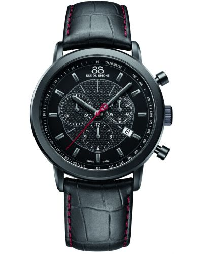 Mens 88 Rue Du Rhone 42mm Quartz Chronograph Stainless steel black leather strap 87WA120046 Watch