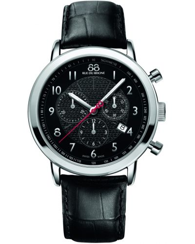 Mens 88 Rue Du Rhone 42mm Quartz Chronograph Stainless steel black leather strap 87WA120047 Watch