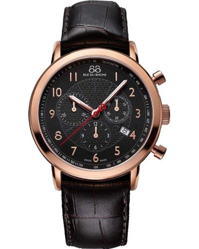 Mens 88 Rue Du Rhone 42mm Quartz Chronograph rose gold brown leather strap 87WA120050 Watch