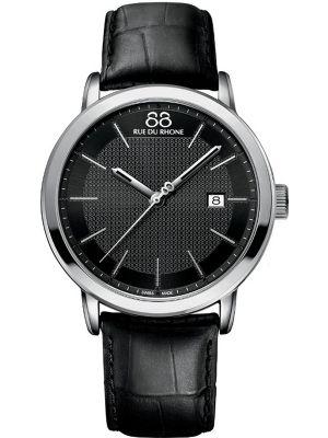 Mens 88 Rue Du Rhone 42mm Quartz Stainless steel black leather strap 87WA130010 Watch