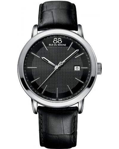 Mens 88 Rue Du Rhone 42mm Quartz Stainless steel black leather strap 87WA130010 Watch