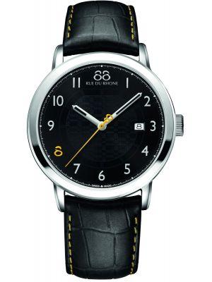 Mens 88 Rue Du Rhone 42mm Quartz stainless steel black leather strap 87WA140020 Watch