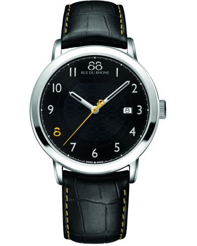 Mens 88 Rue Du Rhone 42mm Quartz stainless steel black leather strap 87WA140020 Watch