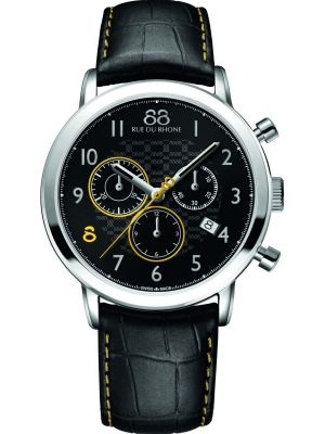 Mens 88 Rue Du Rhone 42mm Quartz Chronograph Stainless steel black leather strap 87WA140028 Watch