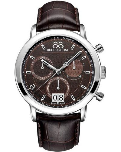 Mens 88 Rue Du Rhone 45mm Quartz Chronograph Stainless steel brown leather strap 87WA130022 Watch