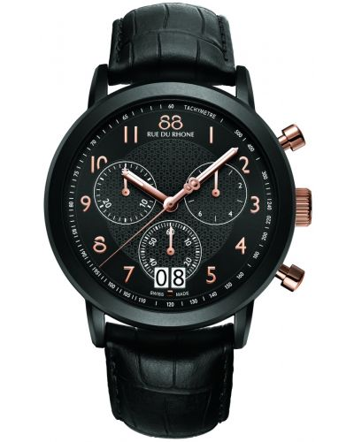 Mens 88 Rue Du Rhone 45mm Quartz Chronograph stainless steel Black leather strap 87WA130023 Watch