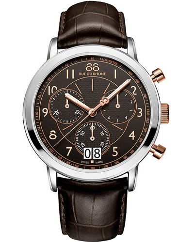 Mens 88 Rue Du Rhone 45mm Quartz Chronograph stainless steel and brown leather strap 87WA130024 Watch