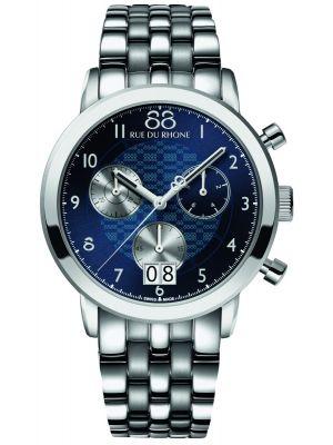 Mens 88 Rue Du Rhone 45mm Quartz Chronograph Stainless steel blue 87WA140031 Watch