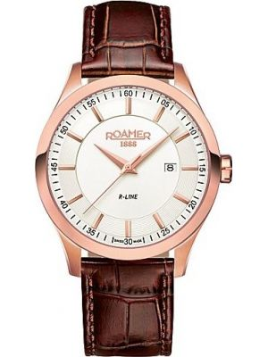 Mens Roamer R-Line 715 rose gold brown leather strap 943856492509 Watch