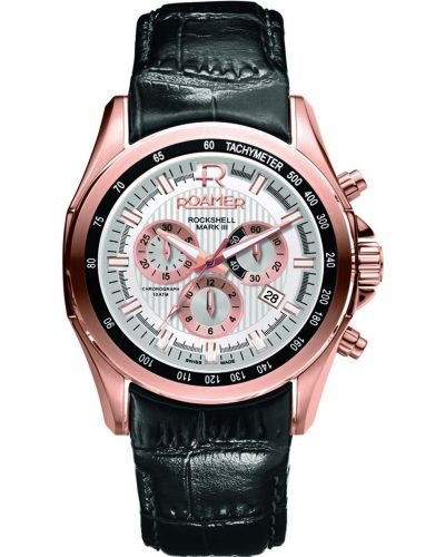 Mens Roamer Rockshell Mark III rose gold black leather chronograph 220837492502 Watch