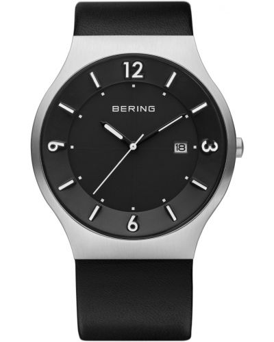 Mens Bering Solar Black stainless steel leather strap 14440-402 Watch