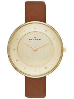 Womens Skagen Gitte gold plated brown leather strap SKW2138 Watch