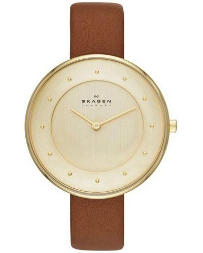 Womens Skagen Gitte gold plated brown leather strap SKW2138 Watch
