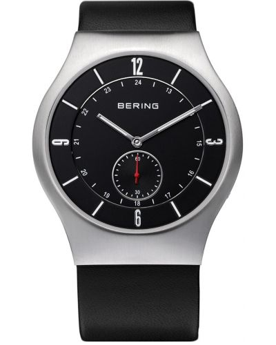 Mens Bering Classic Stainless steel black leather strap 11940-409 Watch