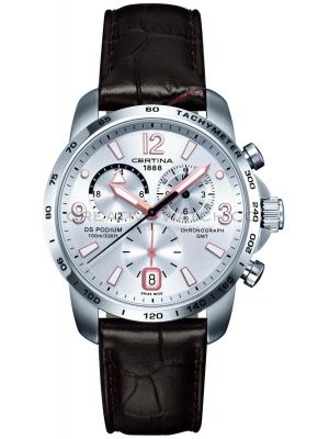 Mens Certina DS Podium GMT Chronograph brown leather strap C0016391603701 Watch