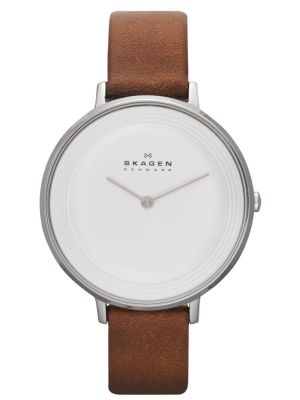 Womens Skagen Ditte relaxed slim brown leather strap skw2214 Watch