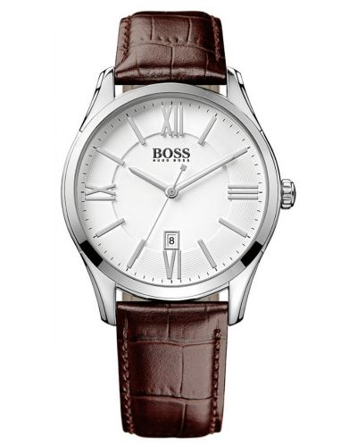 Mens Hugo Boss Ambassador stainless steel brown leather strap 1513021 Watch