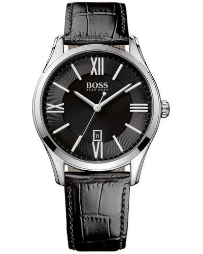 Mens Hugo Boss Ambassador Stainless steel black leather strap 1513022 Watch