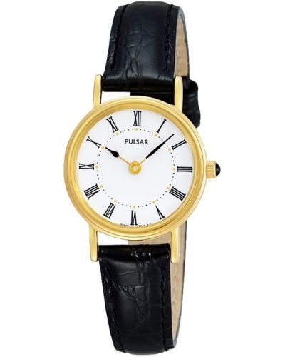Womens Pulsar  Classic gold plated black leather strap PTA512X1 Watch