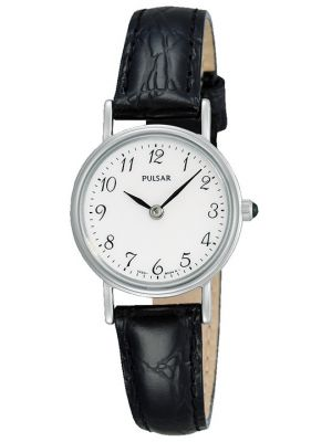 Womens Pulsar  Classic stainless steel black leather strap PTA511X1 Watch
