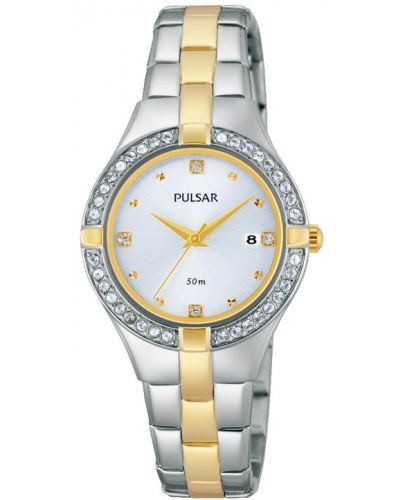Womens Pulsar  Dress Wear crystal set stainless steel gold highlighted PH7376X1 Watch