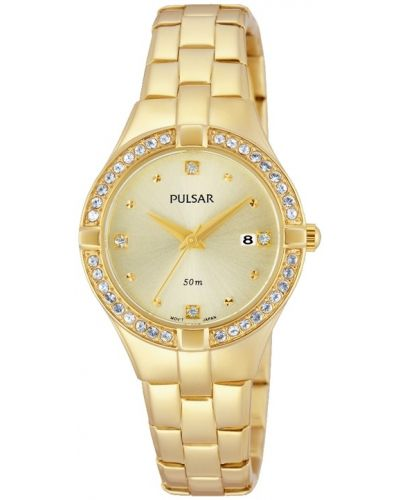 Womens Pulsar  Dress Wear crystal set gold plated PH7378X1 Watch