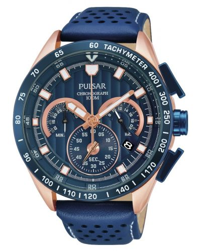 Mens Pulsar  Sports Rose gold navy blue chronograph PU2082X1 Watch