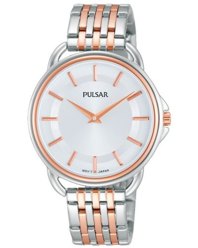 Womens Pulsar  Classic stainless steel rose gold highlighted PM2098X1 Watch